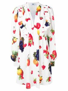 MSGM fruit print midi dress - White