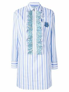 Prada ruffle-trimmed long shirt - Blue