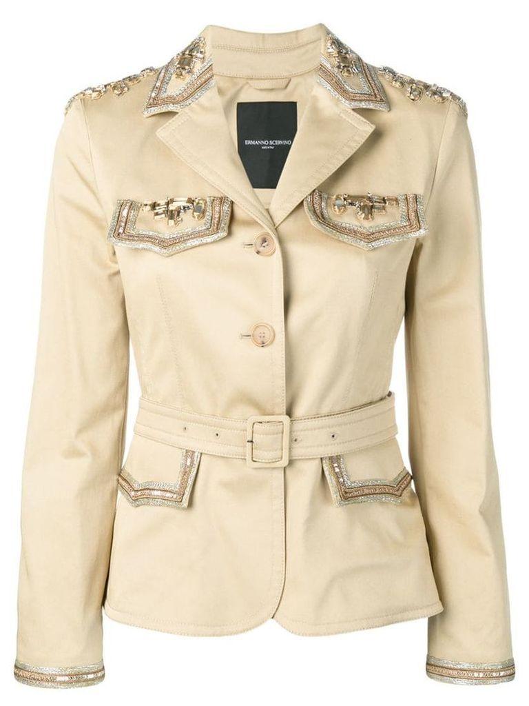 Ermanno Scervino embellished belted jacket - Yellow