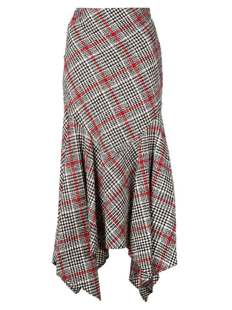 Oscar de la Renta asymmetric checked skirt - Red
