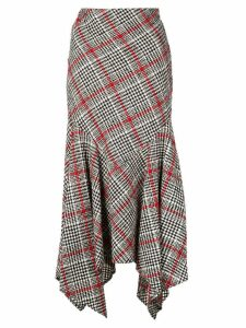 Oscar de la Renta asymmetric checked skirt - Red