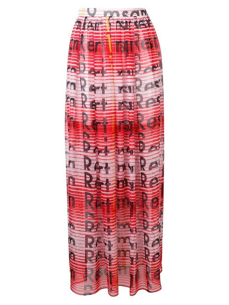 MSGM high-waisted printed pleated skirt - Red