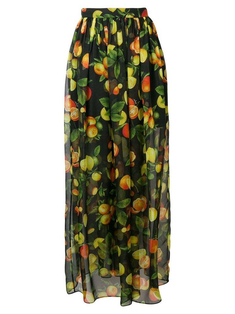 MSGM botanical print high waisted skirt - Black