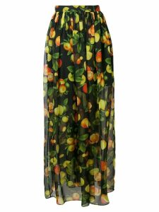 MSGM botanical print high waisted skirt - Black
