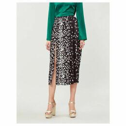 Georgia geometric-print silk-crepe midi skirt