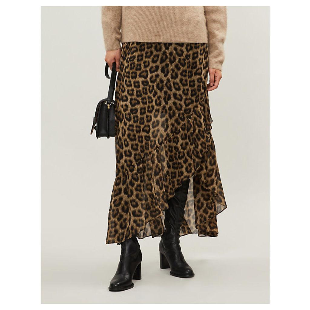 Ba&Sh Brown and Black Falvi Leopard-Print Ruffled Crepe Midi Skirt