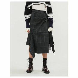 Asymmetric checked cotton midi skirt