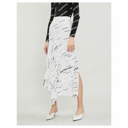 Balenciaga White and Black Logo-Print Jersey Midi Skirt