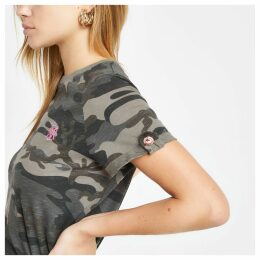 Womens Green camo print rolled sleeve T-shirt