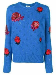 Kenzo embellished flower knitted sweater - Blue