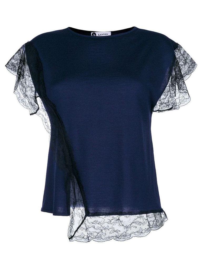 Lanvin lace insert T-shirt - Blue