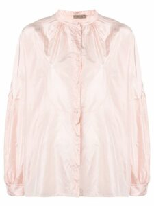 Bottega Veneta band collar silk blouse - Pink