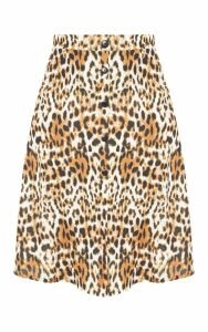 Plus Tan Leopard Print Button Up Midi Skirt, Brown