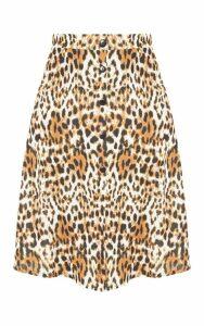 Plus Tan Leopard Print Button Up Midi Skirt, Brown