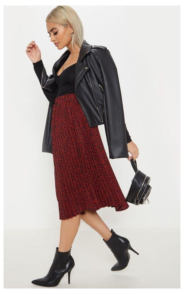 Petite Burgundy Chiffon Polka Dot Pleated Midi Skirt, Red