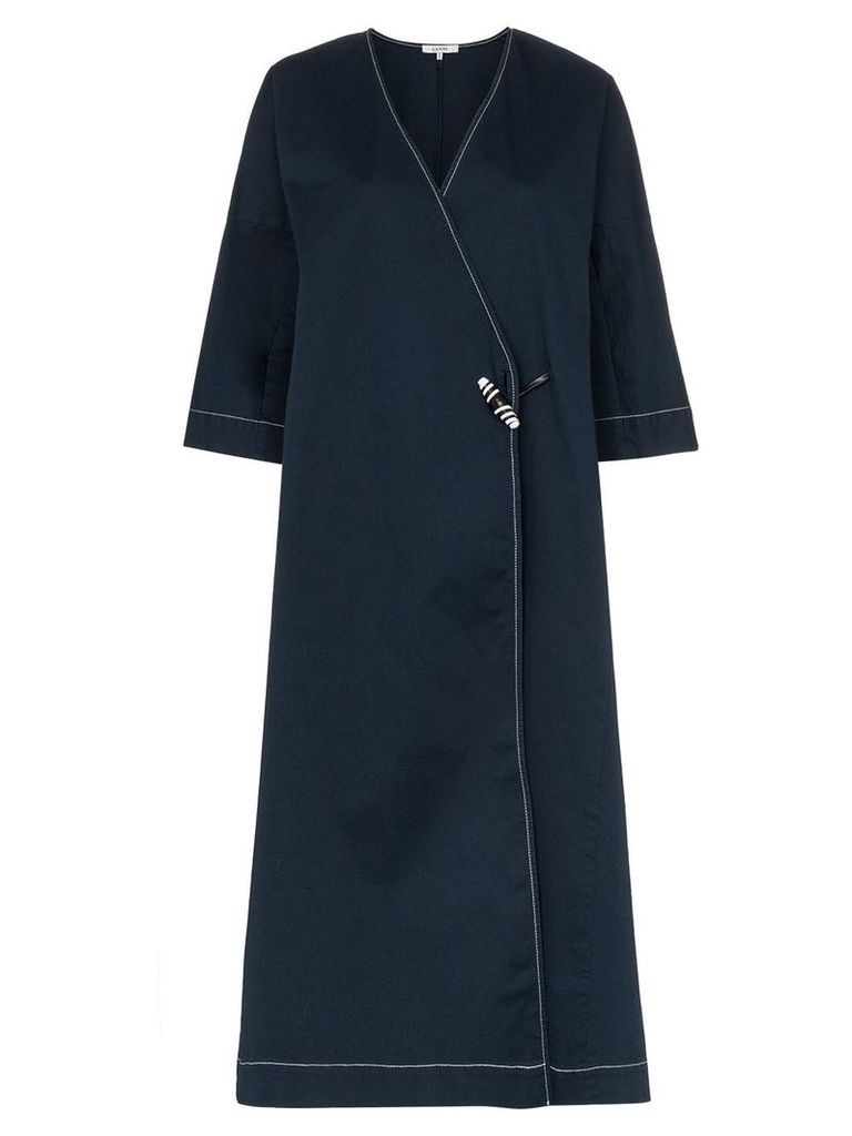 Ganni Hewson embroidery detail coat - Blue