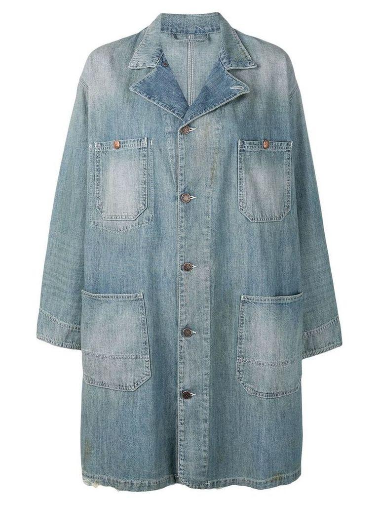 6397 distressed denim coat - Blue