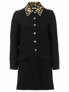 Miu Miu lurex leopard collar coat - Black