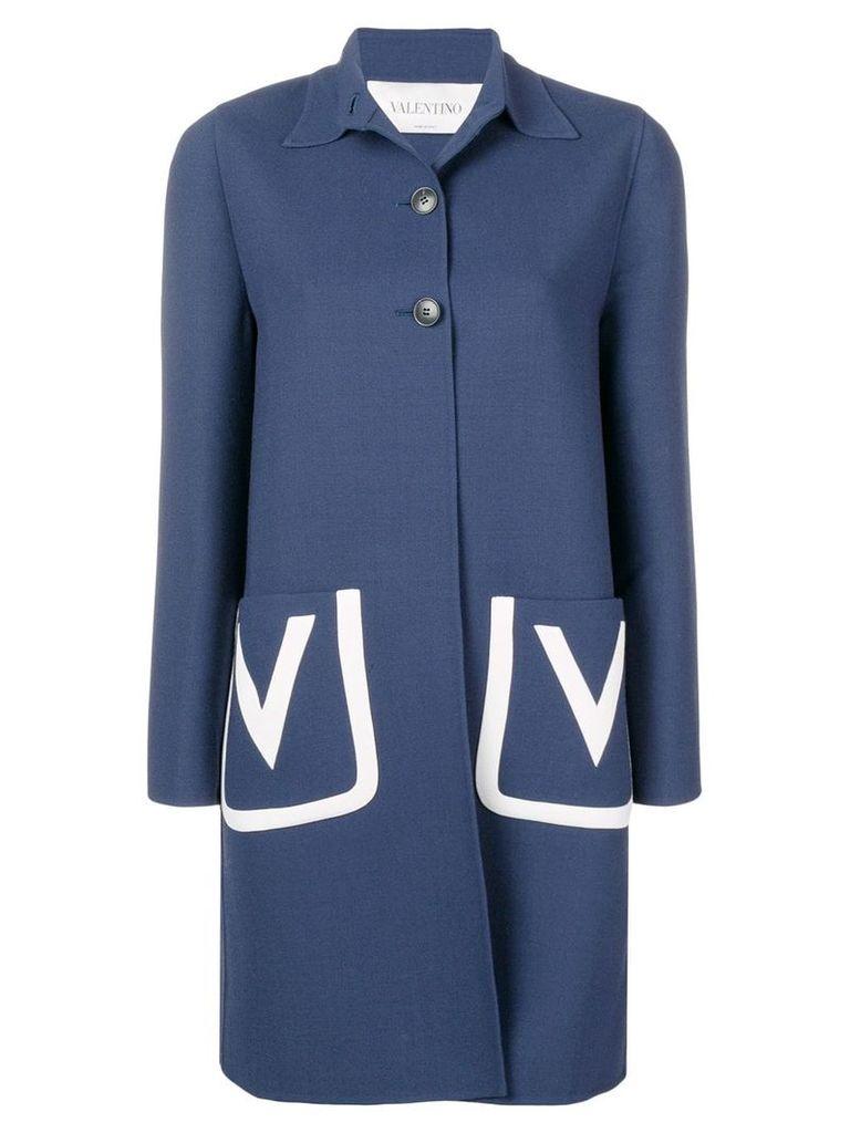 Valentino embroidered V crêpe wool coat - Blue
