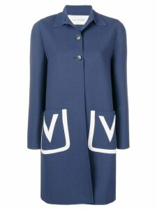 Valentino embroidered V crêpe wool coat - Blue