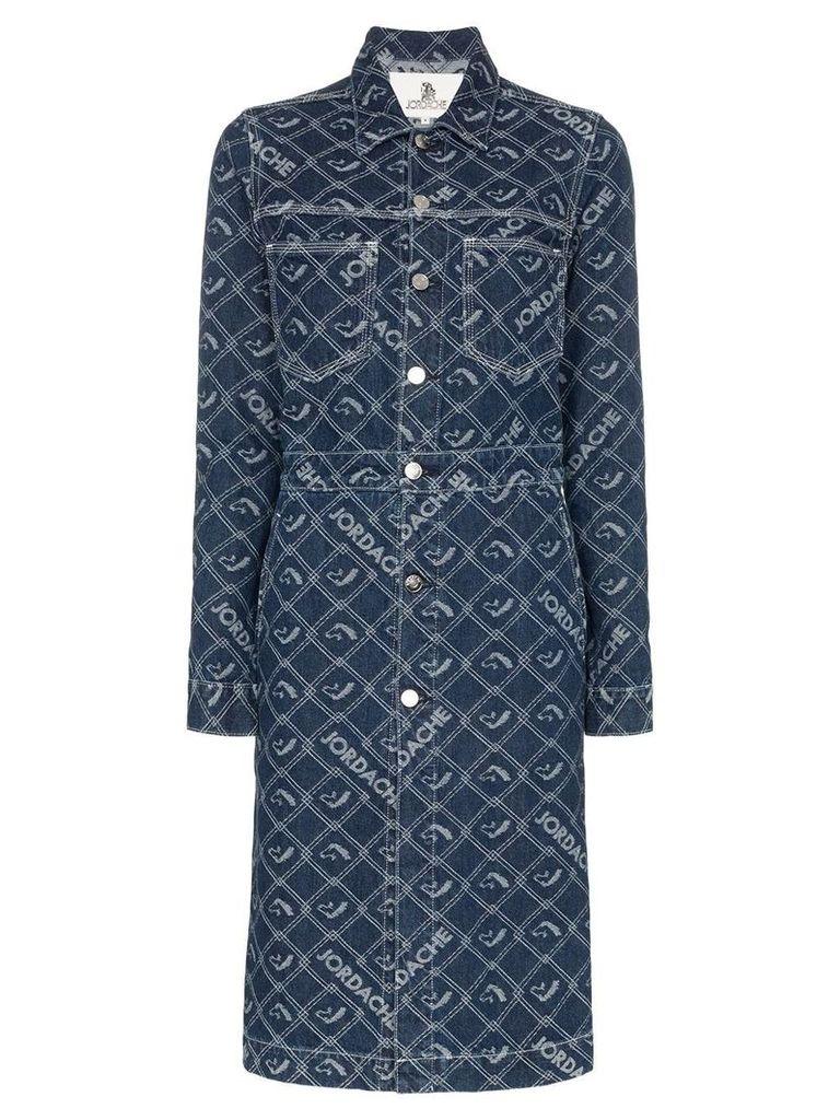 Jordache denim mid-length button-down coat - Blue