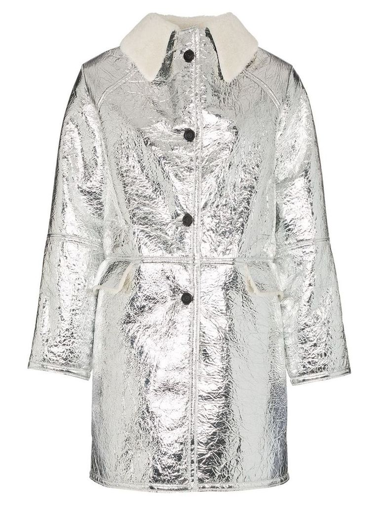 Kassl Editions shearling collar button-down coat - Silver