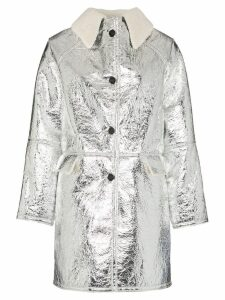 Kassl shearling collar button-down coat - Silver