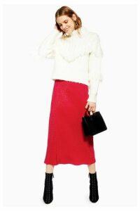 Womens Teardrop Jacquard Satin Bias Skirt - Red, Red