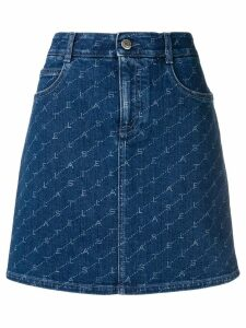 Stella McCartney logo print denim skirt - Blue