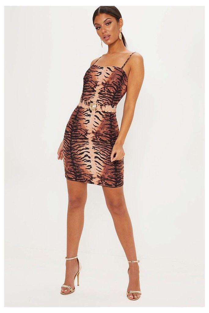 Womens PrettyLittleThing Tiger Print Hardwear Buckle Dress -  Brown