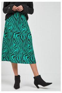 Womens Next Green Animal Zebra Print Midi Skirt -  Green