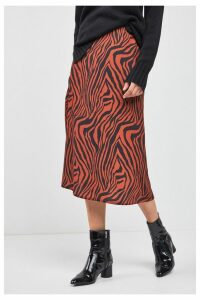 Womens Next Rust Animal Zebra Print Midi Skirt -  Orange