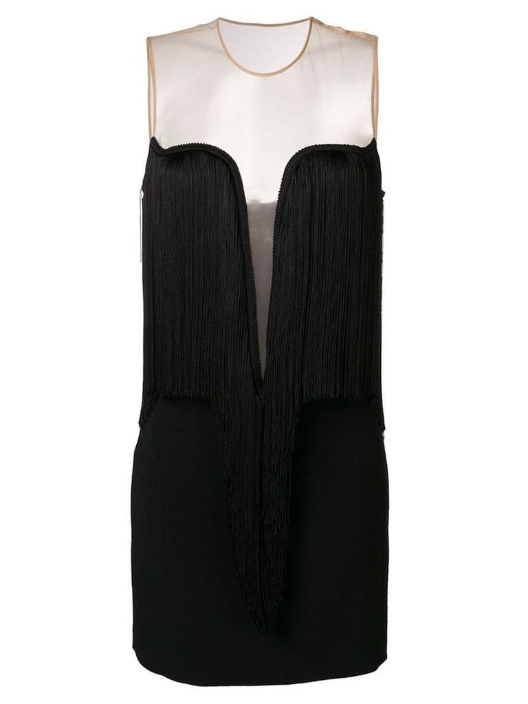 Stella McCartney fringed V-neck dress - Black