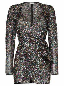 Attico sequin embellished wrap mini dress - Multicolour