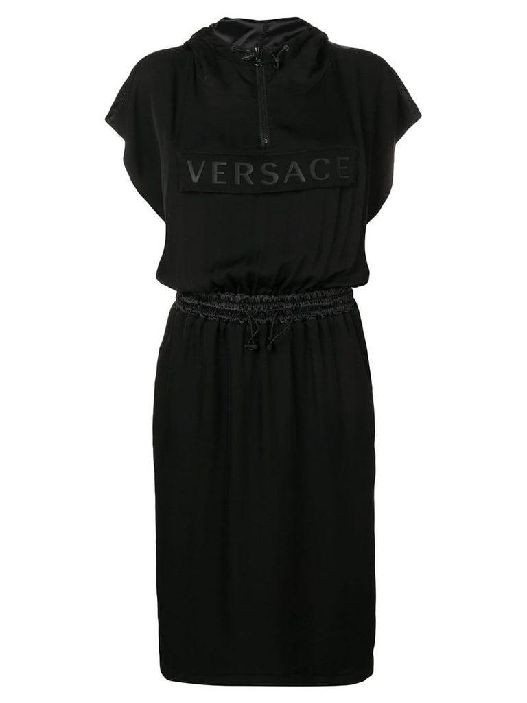 Versace Rubberised Versace logo hooded dress - Black
