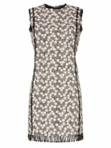 Giambattista Valli tweed floral shift mini dress - Black