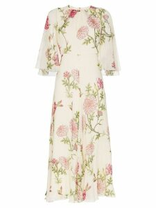 Giambattista Valli silk wide sleeve floral midi dress - Neutrals