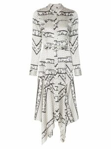 Ganni Blakely silk blend shirt dress - White