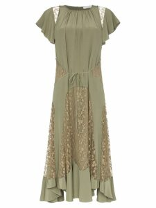 Chloé lace insert silk dress - Green