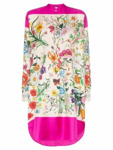 Gucci multicoloured floral print silk shirt dress - Pink
