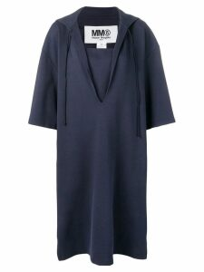 Mm6 Maison Margiela drawstring hood dress - Blue