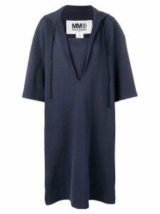 Mm6 Maison Margiela drawstring hood dress - Blue
