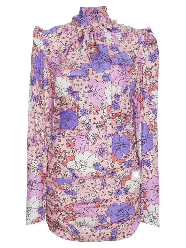 Magda Butrym Silk Neck Tie Floral Mini Dress - Pink