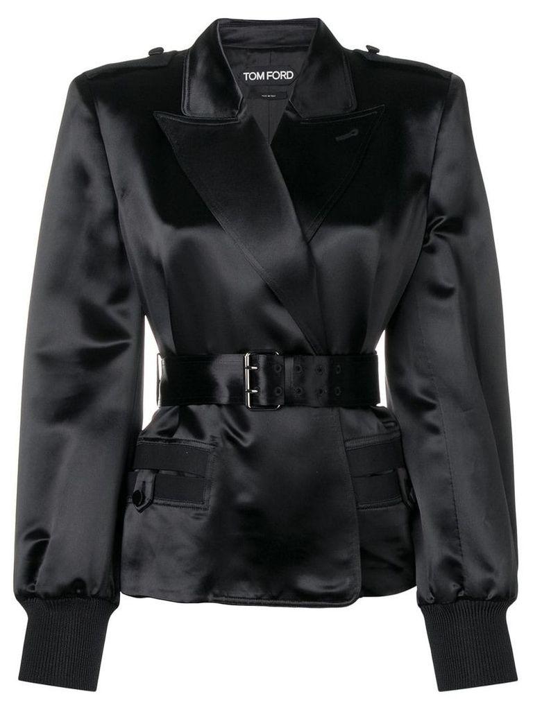 Tom Ford belted silk blazer - Black