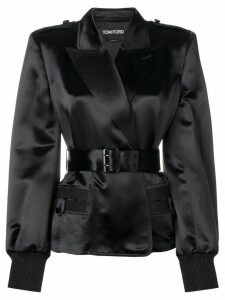 Tom Ford belted silk blazer - Black