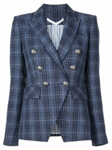 Veronica Beard checked double-breasted blazer - Blue