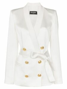 Balmain gold-tone button belted blazer - White