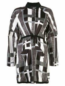 Josie Natori taisho stripe drawstring jacket - Black