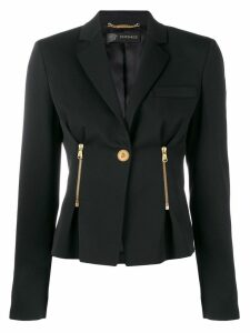 Versace single button fitted jacket - Black
