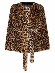 Stand Odela Konacri leopard print belted faux fur jacket - Brown